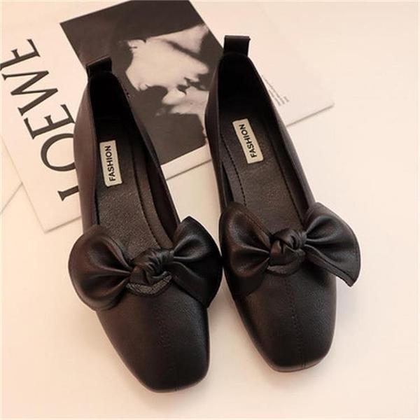 平底鞋方頭單鞋奶奶鞋春淺口豆豆鞋蝴蝶結一腳蹬瓢鞋