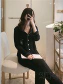 黑色莫代爾睡衣女長袖春秋季韓版可外穿情侶開衫純棉男家居服套裝 衣櫥秘密