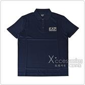 EMPORIO ARMANI 白字EA7 LOGO純棉男士短袖POLO衫(S/M/L/XL/深藍)