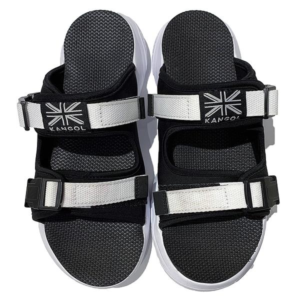 KANGOL英國袋鼠拖鞋厚底黏帶休閒男女款 6055220123 黑