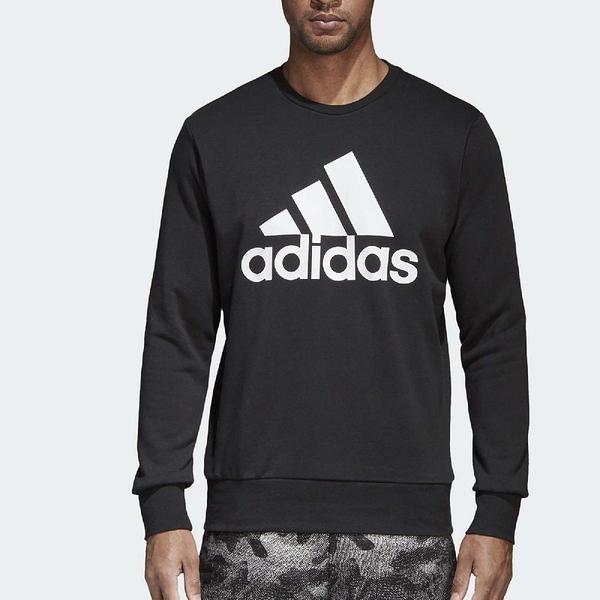 adidas 長袖上衣 Sport Ess Biglogo Crew 黑 白 大LOGO 大學T 男款 【ACS】 CD6275