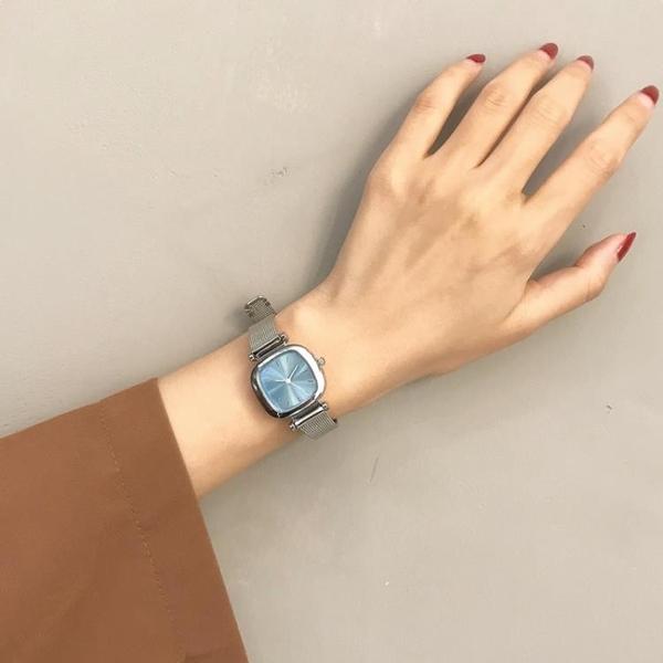 ins細帶精緻韓風復古chic石英手錶女方形氣質網帶鍊條 育心館