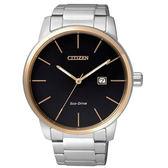 CITIZEN Eco-Drive   精實風範簡約時尚腕錶-金框黑
