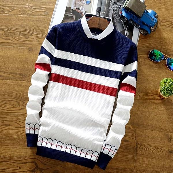 【限時精選優惠任搭第2件6折】保暖針織衫潮流時尚日韓風格簡約條紋造型百搭