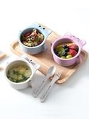 兒童輔食碗小麥秸稈兒童餐盤套裝幼兒園分格卡通寶寶防摔餐   童趣屋