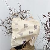 韓風簡約字母印花單肩帆布包2018新款休閒百搭購物袋手提包禮物限時八九折
