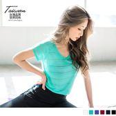《KS0400》台灣品質.世界同布~鏤空橫條紋吸濕排汗運動上衣 OrangeBear