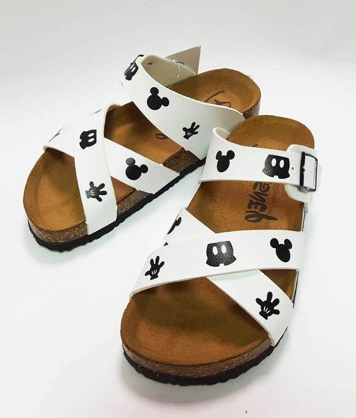 中童 迪士尼 米奇 交叉休閒拖鞋 親子鞋《7+1童鞋》C091白色