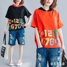 彩色字母拼接連帽T恤衫夏新款大碼印花衛衣撞色休閒洋氣個性上衣 LF3621『寶貝兒童裝』