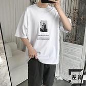 短袖t恤夏季五分袖上衣潮牌潮流嘻哈衣服寬鬆【左岸男裝】