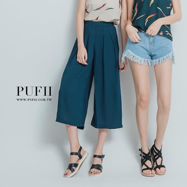 現貨PUFII-寬褲 鬆緊腰素面壓摺雪紡寬褲-色- 0419  春【CP12591】