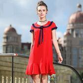中大尺碼洋裝 雪紡娃娃領繫帶荷葉下襬氣質連衣裙  L-5XL #bl2920111 ❤卡樂❤