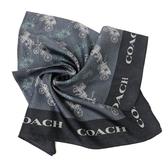 【COACH】馬車LOGO 桑蠶絲絲巾方巾(藍)