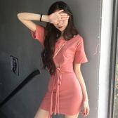 窄裙2018夏季新品鏤空系帶短袖T恤上衣 包臀半身裙兩件套時尚套裝女裝 全館免運