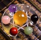 天然五行水晶七星陣 天然七彩水晶球七星陣 黃水晶球 辦公室居家風水擺飾禮品贈禮 (特小號)
