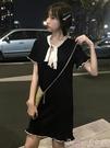 針織洋裝港風復古chic連身裙女夏季2020新款韓版顯瘦木耳邊短袖針織短裙子 suger
