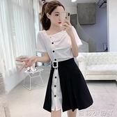 套裝女2021新款夏季皺褶設計感襯衫連衣裙 開口半身短裙子兩件套 蘿莉新品