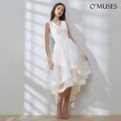 OMUSES V領刺繡蕾絲新娘伴娘白色前...