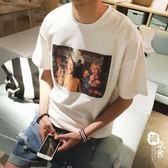 短袖T恤 - 寬松短袖個性百搭圓領上衣打底T恤衫男【韓衣舍】