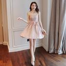 吊帶洋裝 夏季新款超仙小個子甜美小清新吊帶蕾絲碎花高腰連衣裙女裝 - 巴黎衣櫃