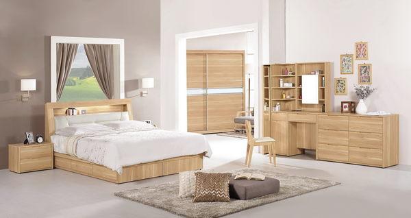 【森可家居】柏納德6尺被櫥式雙人床( 置物床頭+三抽床底) (不含床墊) 7CM081-1加大