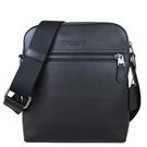 COACH 壓印LOGO荔枝紋皮革直立式拉鍊飛行包 斜背包(黑色)-68014