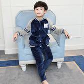 兒童珊瑚絨睡衣男童女童寶寶秋冬季加厚法蘭絨套裝男孩親子家居服