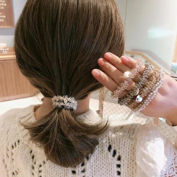 髮圈 頭繩女網紅水晶髮圈手鏈兩用髮繩橡皮筋氣質女ins森系少女頭繩韓版髮飾YL胖妹大碼女裝