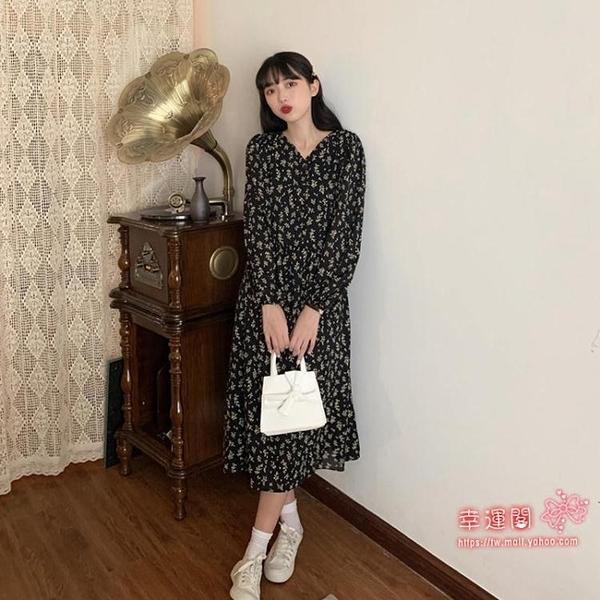 長袖碎花裙 法式V領長袖洋裝女秋季2020新款韓版氣質收腰顯瘦中長款碎花裙