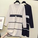 針織連身裙XL-4XL實拍大碼女裝2020冬裝新款洋氣針織連身裙胖妹妹顯瘦打底毛衣裙子MB154.1號公館