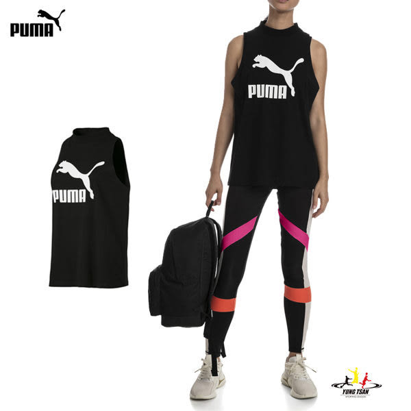 Puma Classics 女 黑 短袖背心 運動背心 無袖 棉質 透氣 慢跑 健身 瑜珈 背心 57800501