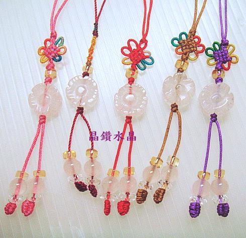 粉晶吊飾~超可愛小花~搭配純天然黃水晶~花開富貴~手機吊飾.精緻特賣中