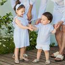 清新荷葉袖淡藍直條紋襯衫親子裝情侶裝(小孩)