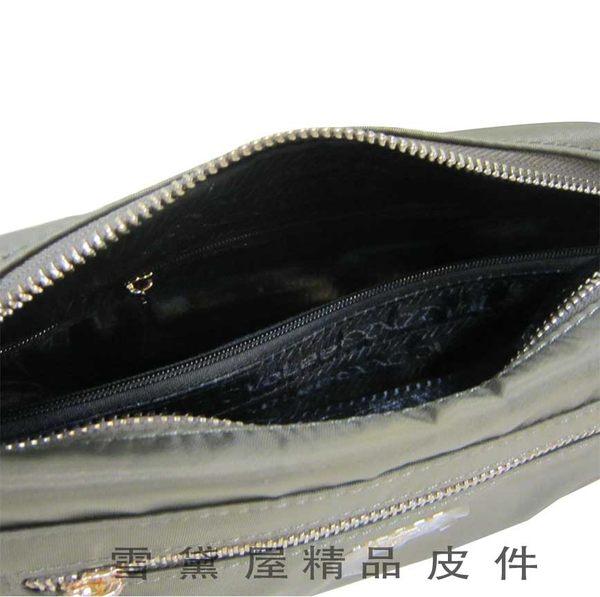 ~雪黛屋~Volee 斜側背中容量可肩背斜背進口專櫃主袋內二層主袋進口超輕量防水水晶布+皮革V035-290SB