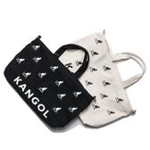 KANGOL大款 滿版黑LOGO米 白帆布袋 刺繡 側背包 手提袋 托特包 帆布 英國 (布魯克林) 60253006-