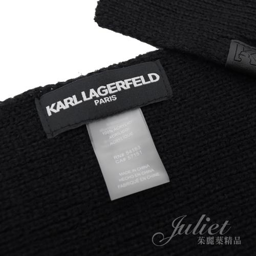 茱麗葉精品【全新現貨】KARL LAGERFELD 卡爾老佛爺 口袋補丁針織圍巾.黑