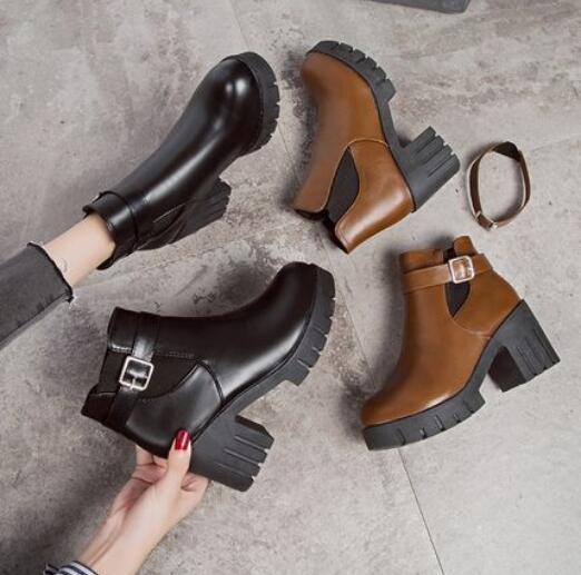 馬丁靴女英倫風ins潮靴子女切爾西短靴春秋單靴韓版百搭冬季女鞋靴「時尚彩紅屋」