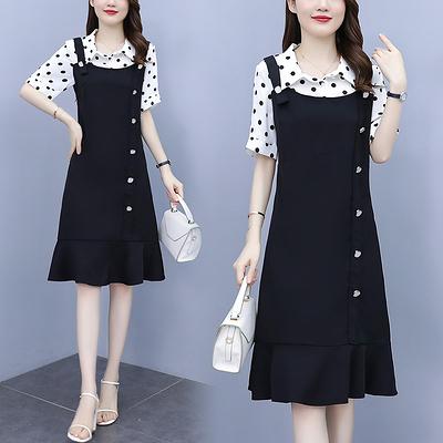 襯衫洋裝 連身裙女 翻領L-5XL時尚波點拼接假兩件氣質減齡百搭連身裙4F003.1號公館