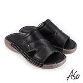 A.S.O 機能休閒 手縫氣墊雙面料拼接休閒男拖鞋 黑