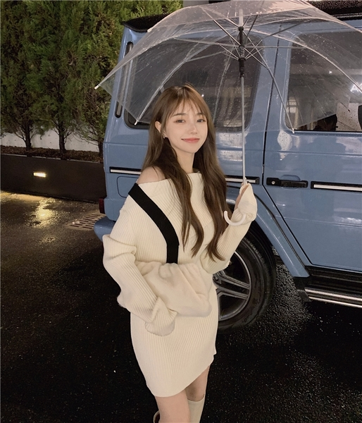 出清388 韓國風露肩修身長款包臀性感長袖洋裝