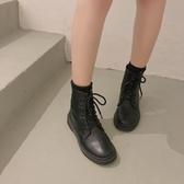 南在南方2019百搭ins英倫風靴子黑色短靴新款潮網紅馬丁靴女秋款