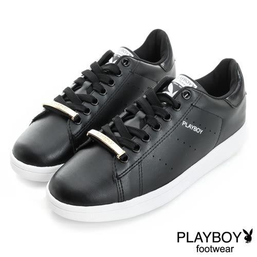 PLAYBOY 純色經典 金屬飾釦簡約休閒鞋-黑