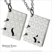 情侶對鍊STEVEN YANG珠寶白鋼飾 情書 愛的幾何鋼項鍊*單個價格*送刻字 聖誕情人節禮