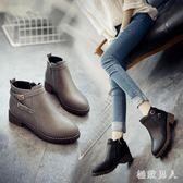 韓版秋冬季短靴女低跟圓頭馬丁靴扣帶粗跟英倫復古側拉鏈 DN17571【極致男人】