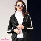 【SHOWCASE】休閒運動風袖白邊配色連帽針織外套(黑)-漢神獨家