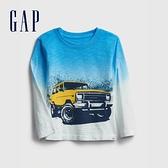 Gap男幼童 創意漸層印花圓領T恤 649651-藍色浸染