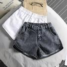 牛仔短褲女夏寬鬆高腰鬆緊腰2021年新款a字休閒白色運動外穿顯瘦【快速出貨】