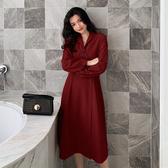 VK精品服飾 韓國風收腰顯瘦氣質v領長袖洋裝