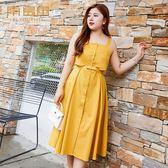 大尺碼無袖洋裝 大碼女夏裝新款遮肚子洋裝洋氣減齡顯瘦胖仙女裙藏肉 唯伊時尚
