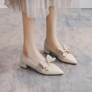 粗跟鞋 2021春季新款淺口尖頭仙女晚晚風溫柔鞋早春蝴蝶結中跟粗跟單鞋女